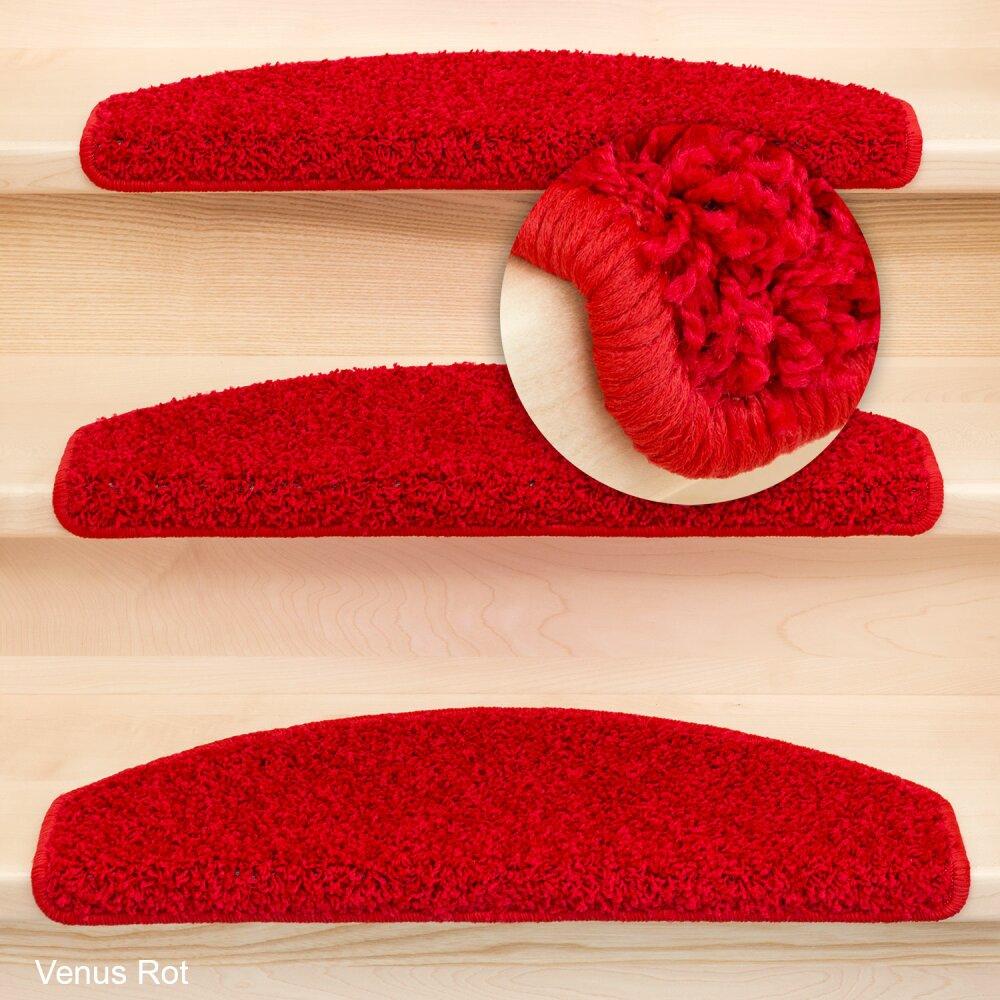 stufenmatten shaggy venus halbrund rot 22 st ck 71 95. Black Bedroom Furniture Sets. Home Design Ideas