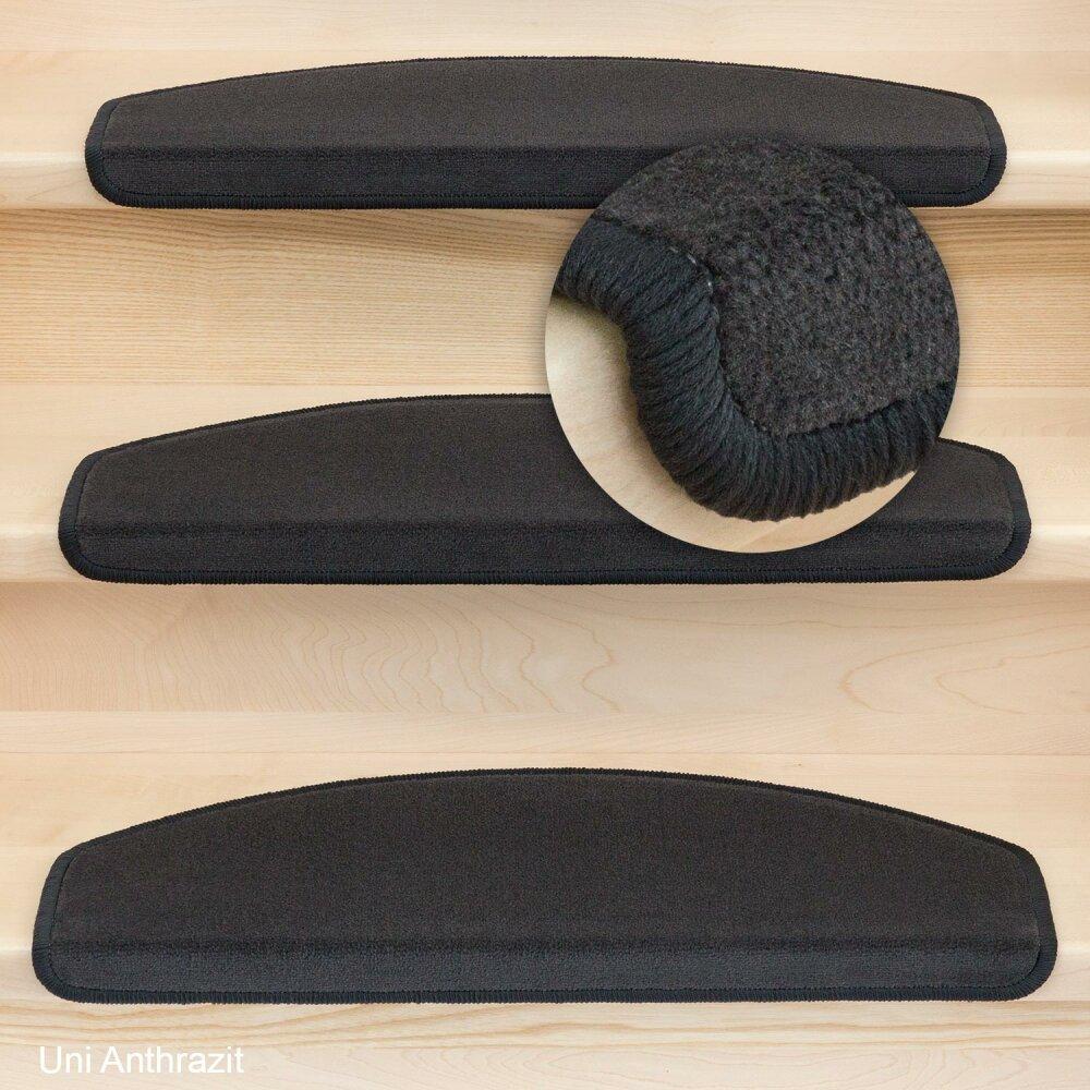 stufenmatten vorwerk uni velours anthrazit 15 st ck halbrund 99 95. Black Bedroom Furniture Sets. Home Design Ideas